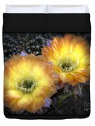 Golden Cactus Flowers  Duvet Cover