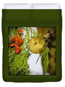 Golden Christmas Finch Duvet Cover
