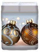 Golden Christmas Ornaments Duvet Cover