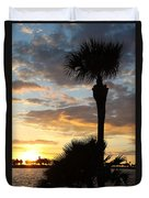 Golden Clouds Over Tampa Bay Duvet Cover