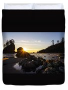 Golden Coastal Sunset Light Duvet Cover