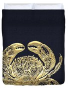 Golden Crab On Charcoal Black Duvet Cover