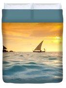 Golden Dhoni Sunset Duvet Cover by Sean Davey