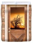 Golden Doorway Window View Duvet Cover