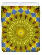Golden Everlasting Daisy Mandala Duvet Cover
