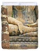 Golden Fingernails On Sitting Buddha At Wat Mahathat In Sukhothai Historical Park-thailand Duvet Cover