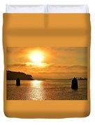 Golden Foggy Sunrise Colors On Santa Rosa Sound At Hurlburt Harbor Duvet Cover