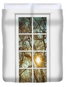 Golden Forest  Branches White 8 Windowpane View Duvet Cover