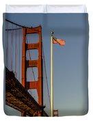 Golden Gate And American Flag Duvet Cover