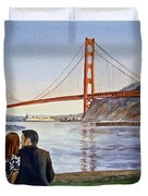 Golden Gate Bridge San Francisco - Two Love Birds Duvet Cover
