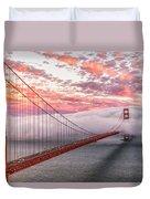 Golden Gate Bridge Sunset Evening Commute Duvet Cover