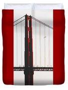 Golden Gate Bridge - Sunset With Bird Duvet Cover