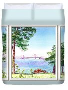 Golden Gate Bridge View Window Duvet Cover