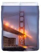 Golden Gate In Fog Duvet Cover