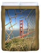Golden Gate Through The Fence Duvet Cover