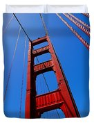 Golden Gate Tower Duvet Cover by Rona Black