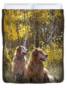 Golden Goldens - Golden Retriever Brothers - Casper Mountain - Casper Wyoming Duvet Cover