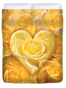 Golden Heart Of Roses Duvet Cover