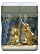Golden Horse In The City Duvet Cover