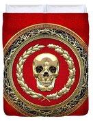 Golden Human Skull On Red   Duvet Cover