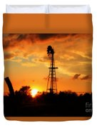 Golden Kansas Sunset With Windmill Duvet Cover
