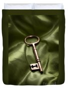 Golden Key On Green Silk  Duvet Cover