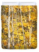 Golden Leaves In Autumn Abstract Duvet Cover