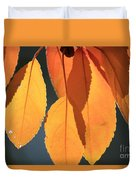 Golden Leaves With Golden Sunshine Shining Through Them Duvet Cover