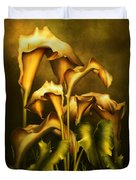 Golden Lilies By Night Duvet Cover