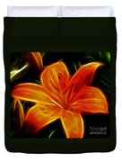 Golden Lily Expressive Brushstrokes Duvet Cover