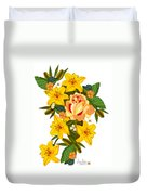 Golden Lily Flowers With Golden Rose Duvet Cover