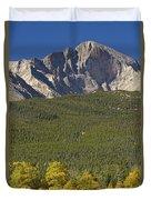 Golden Longs Peak View Duvet Cover