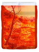 Golden Mountain Lake Morning  Duvet Cover