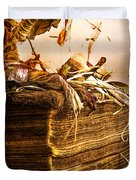 Golden Pages Falling Flowers Duvet Cover
