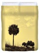 Golden Palm Silhouette Duvet Cover
