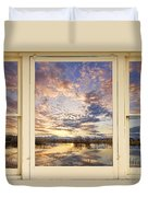 Golden Ponds Scenic Sunset Reflections 4 Yellow Window View Duvet Cover
