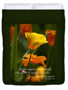 Golden Poppy Floral  Bible Verse Photography Duvet Cover