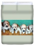 Golden Puppies Duvet Cover by Michelle Calkins