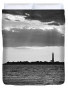 Golden Rays At Cape May Bw Duvet Cover