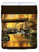 Golden Reflection Autumn Bridge Duvet Cover