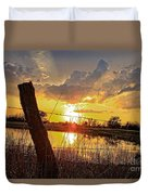 Golden Reflection With A Fence Duvet Cover