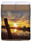 Golden Reflection With A Fence Duvet Cover by Robert D  Brozek