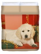 Golden Retriever Amongst Presents Duvet Cover