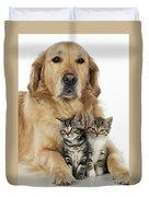 Golden Retriever And Kittens Duvet Cover
