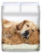 Golden Retriever And Orange Cat Duvet Cover