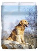 Golden Retriever Dog On Logs Duvet Cover