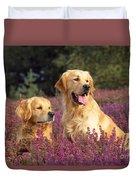 Golden Retriever Dogs In Heather Duvet Cover