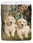 Golden Retriever Puppies In The Woods Duvet Cover