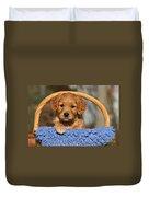 Golden Retriever Puppy In A Basket Duvet Cover
