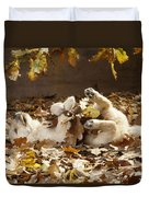 Golden Retriever Puppy In Leaves Duvet Cover